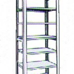 Add-On 36&#8243; wide 7 Tier Tennsco Four Post Letter Size Metal Shelving