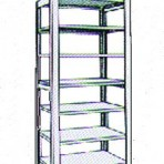 Add-On 42&#8243; wide 7 Tier Tennsco Four Post Letter Size Metal Shelving