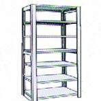 Add-On 48&#8243; wide 7 Tier Tennsco Four Post Letter Size Metal Shelving