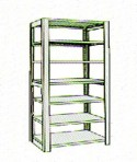 Add-On 48″ wide 7 Tier Tennsco Four Post Letter Size Metal Shelving