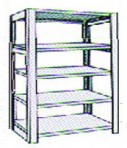 Add-On 48″ wide 5 Tier Tennsco Four Post X-Ray Size Metal Shelving