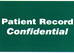 Item# 40575  'Patient Record-Confidential' label