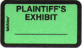 Item# 58025  Plaintiff's Exhibit Label