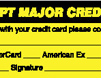 Item# MAP5790  'We Accept Major Credit Cards' Label