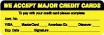 Item# MAP5790  'We Accept Major Credit Cards' Label