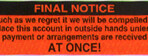 Item# UL1404  'Final Notice' Label