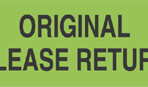 Item# UL806  'Original Please Return' Label