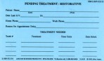 Item# 50-0230  Pending Treatment Cards-Restorative
