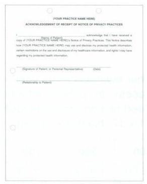 Item# HACK1 'Acknowledgement of Receipt' form