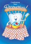 """Item# RC122  """"Reservation"""" Dental Reminder Postcard"""