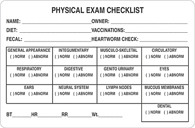 veterinary physical exam template physical exam template bire