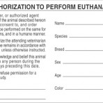 Item# V-AN408  'Authorization Euthanasia' Label
