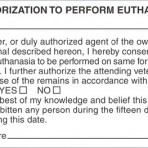 Item# V-AN424  'Authorization Euthanasia' Label