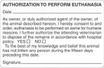 Item# V-AN424  'Authorization Euthanasia' Label