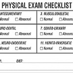 Item# V-AN494  'Physical Exam Checklist' Label