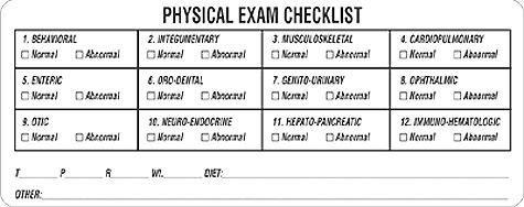 item v an494 39 physical exam checklist 39 label. Black Bedroom Furniture Sets. Home Design Ideas
