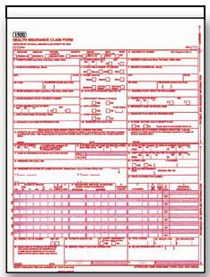 Item# WCMS1500U2 (Red) CMS 1500 HCFA Claim Form - Two Part Snap Set
