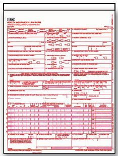 Item# WCMS1500U2 (Black) CMS 1500 HCFA Claim Form - Two Part Snap Set