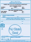 Item# PC48-NJ-1  NJ Tamper Resistant Prescription Pads